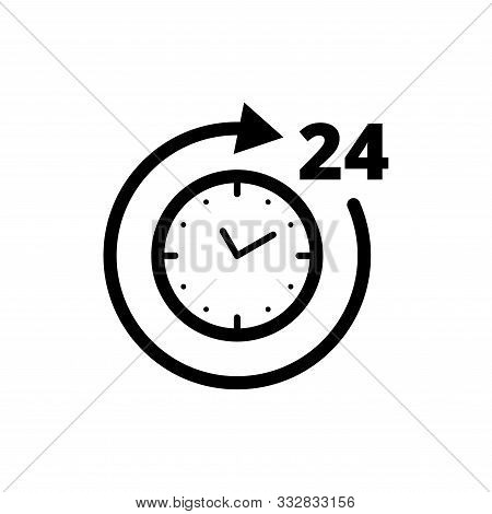 24h Working Time Black Icon. Round Clock With Circle Arrow Isolated On White Background. Flat Line V