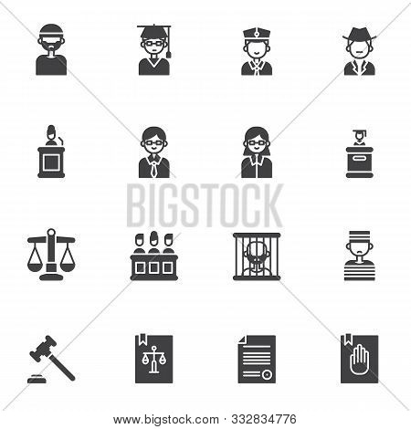 Law, Justice Vector Icons Set, Modern Solid Symbol Collection, Filled Style Pictogram Pack. Signs, L
