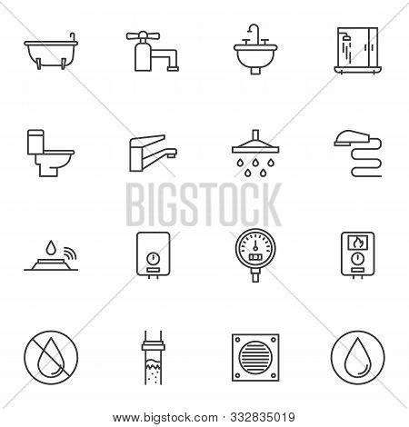 Plumbing Line Icons Set. Linear Style Symbols Collection, Outline Signs Pack. Vector Graphics. Set I