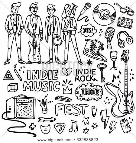 Indie Rock Music Set. Black And White Illustration Of Musicians And Related Objects Such As Guitar,