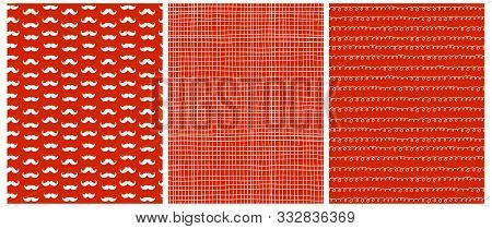 Funny Christmas Vector Patterns. White Santa Claus Moustache On A Red Background. White Tiny Grid An