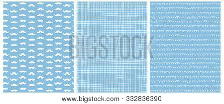 Cute Baby Shower Seamless Vector Patterns. White Moustache On A Blue Background. White Tiny Grid And