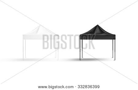 Blank Black And White Pop-up Canopy Tent Mock Up Set, Isolated, 3d Rendering. Empty Exhibition Pavil