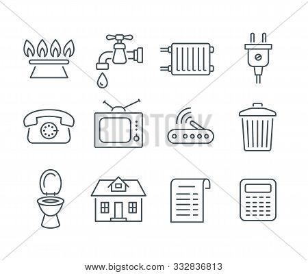 Household Services Utility Bill Icons. Vector Flat Thin Line Regular Payments Symbols Such As Gas, W