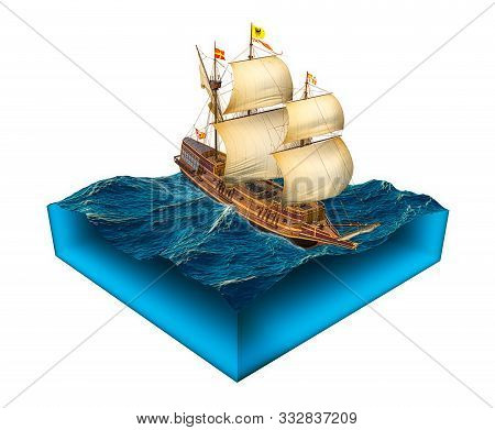 Isolated Cube Of Water With Spanish Galleon Ship