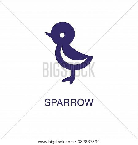 Sparrow Element In Flat Simple Style On White Background. Sparrow Icon, With Text Name Concept Templ