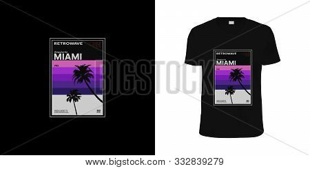 Retrowave Miami Vhs Cassette. Stylish T-shirt And Apparel Retro Design Like Vhs Cassette With Palm T