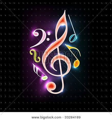 Abstract colorful shiny musical notes on isolated dark color background.EPS 10. can be use as banner, tag, icon, sticker, flyer or poster.
