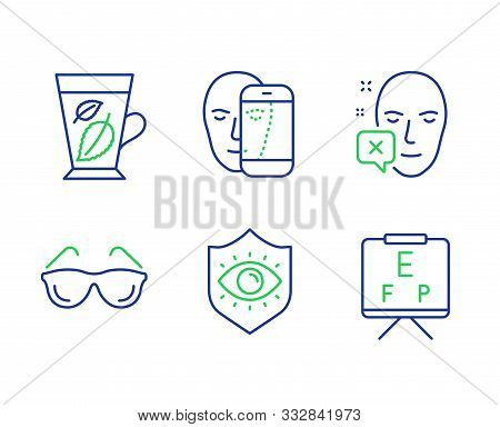 Face Biometrics, Eyeglasses And Face Declined Line Icons Set. Eye Protection, Mint Leaves And Vision