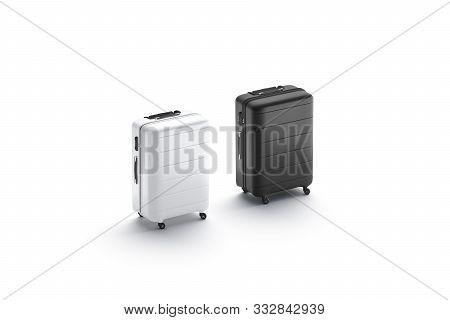 Blank Black And White Luggage Mock Up Stand, Side View, 3d Rendering. Empty Adventure Suit Case Mocu