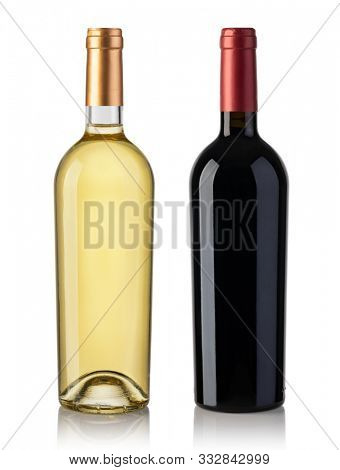 Set Of White, and Red Wine Bottles. Isolated On White Background