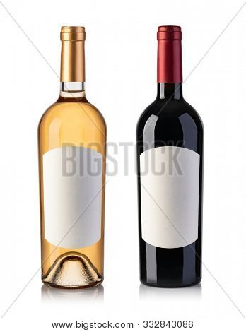 White and red wine bottle isolated on white Background