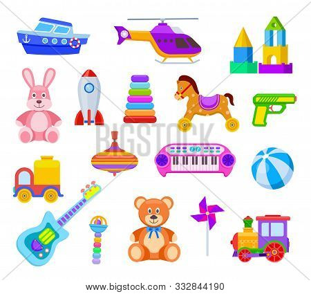 Children Toys. Guitar And Car, Train And Whirligig, Bear And Hare, Helicopter And Ball, Rocket And S