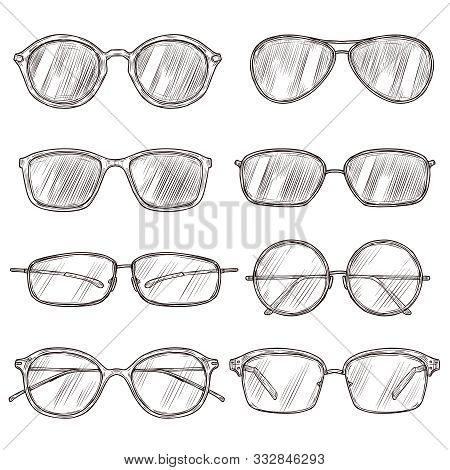 Sketch Sunglasses. Hand Drawn Eyeglass Frames, Doodle Eyewear. Male And Female Glasses Isolated Fash