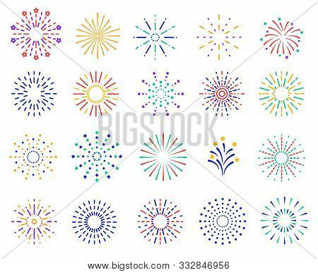 Color Fireworks. Festive Sparkles, Carnival Salutes. Birthday Party And Christmas Vibrant Firecracke