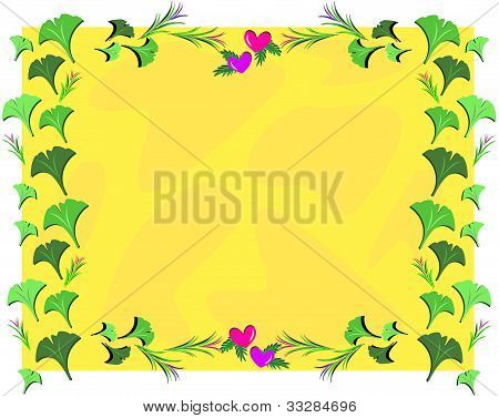 Frame of Gingko Leaves and Heartss