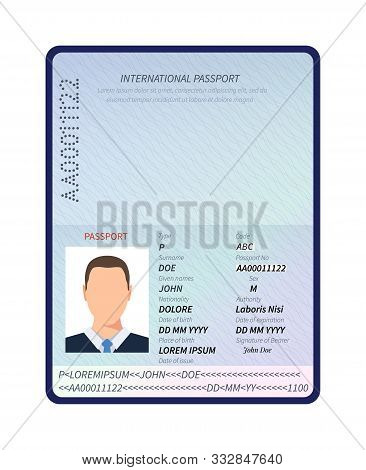 Passport. Open Id Document With Male Photo Portrait And Blank Space For Immigration Visa Stamps Vect