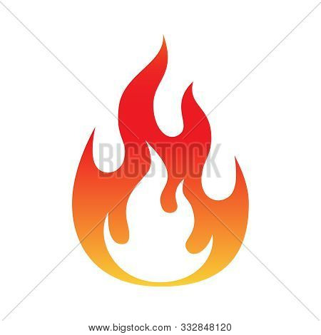 Fire Flame Symbol. Colorful Icon Isolated On White Background. Fire Flame Silhouette. Simple Sign. V