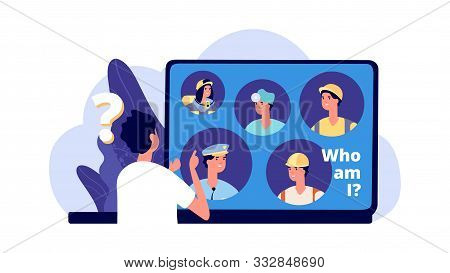 Career Choice. Career Opportunities Illustration. Young Man Chooses Profession. Vector Student Looki