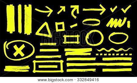 Highlighter Marks. Hand Drawn Yellow Highlight Marker Signs. Vector Highlighter Strokes Arrows Round