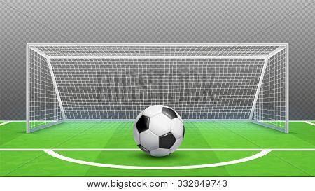Penalty Kick Concept. Football Vector Background. Realistic Soccer Ball Field Goals Isolated On Tran