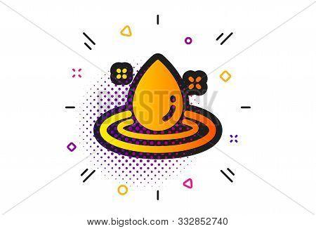 Petroleum Sign. Halftone Circles Pattern. Fuel Energy Icon. Diesel Drop Symbol. Classic Flat Fuel En
