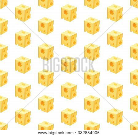 Seamless Pattern Of Square Slices Of Yellow Cheese In Vector. Swiss Cheese Background. Edam Slice Po