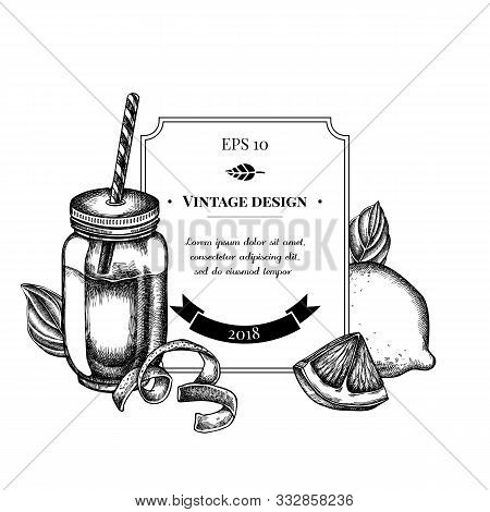 Badge Design With Black And White Lemons, Basil, Smothie Jars Stock Illustration