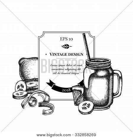 Badge Design With Black And White Lemons, Smothie Jars, Cucumber Stock Illustration