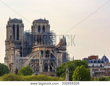Detail Image Of The Remains Of Notre Dame Cathedral In Paris After The Fire Destroyed The Whole Roof