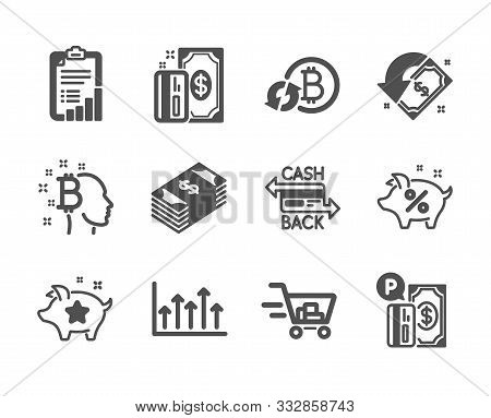 Set Of Finance Icons, Such As Bitcoin Think, Payment, Shopping Cart, Loyalty Points, Parking Payment