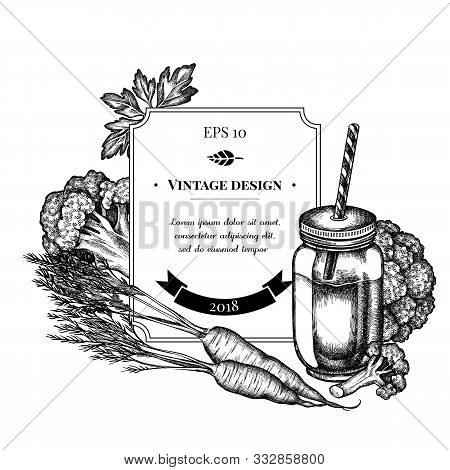 Badge Design With Black And White Broccoli, Greenery, Carrot, Smothie Jars Stock Illustration