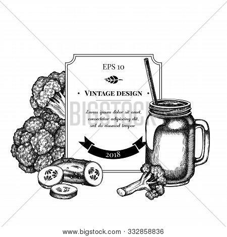 Badge Design With Black And White Broccoli, Smothie Jars, Cucumber Stock Illustration