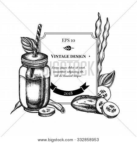 Badge Design With Black And White Green Beans, Basil, Smothie Jars, Cucumber Stock Illustration