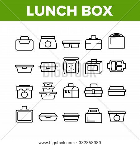 Lunch Box Collection Elements Icons Set Vector Thin Line. Plastic School Lunch Box And Container For