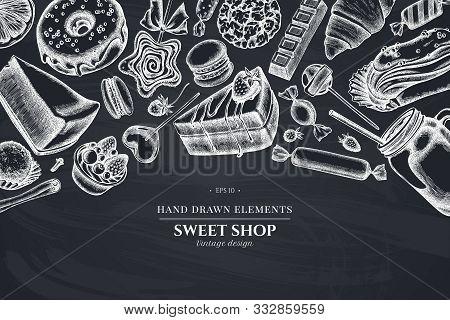 Design With Chalk Cinnamon, Macaron, Lollipop, Bar, Candies, Oranges, Buns And Bread, Croissants And