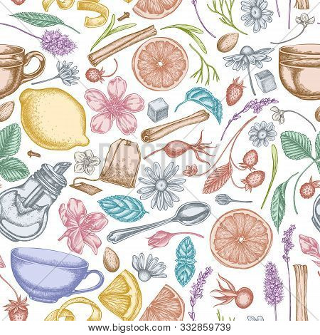 Seamless Pattern With Hand Drawn Pastel Cinnamon, Lemons, Oranges, Tea Bag, Sugar Cubes, Heather, Ch