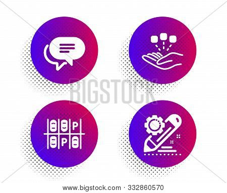 Text Message, Consolidation And Parking Place Icons Simple Set. Halftone Dots Button. Project Edit S