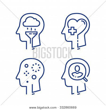Human Head Profile, Cognitive Psychology Or Psychiatry Concept, Mental Illness, Depression Treatment