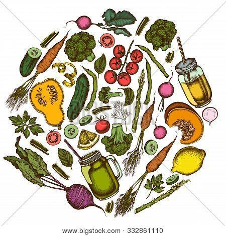 Round Design With Colored Lemons, Broccoli, Radish, Green Beans, Cherry Tomatoes, Beet, Greenery, Ca