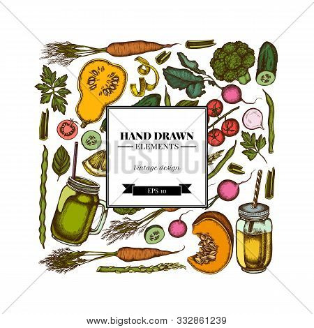 Square Design With Colored Lemons, Broccoli, Radish, Green Beans, Cherry Tomatoes, Beet, Greenery, C