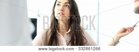 Portrait Of Pretty Businesswoman Talking With Businesspeople And Discussing Important Business Strat