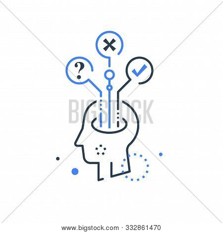 Decision Making, Mental Trap, Logical Solution, Critical Thinking, Psychology Or Psychiatry Concept,