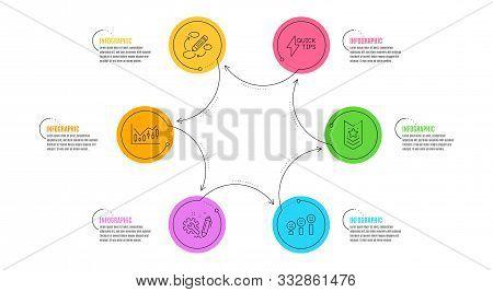 Keywords, Customer Satisfaction And Financial Diagram Signs. Infographic Timeline. Shoulder Strap, E