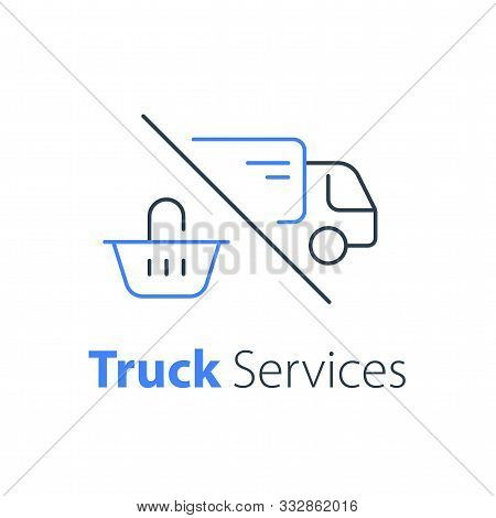 Shopping Order Delivery, Truck Distribution, Purchase Shipping, Basket Line Icon, Convenient Service