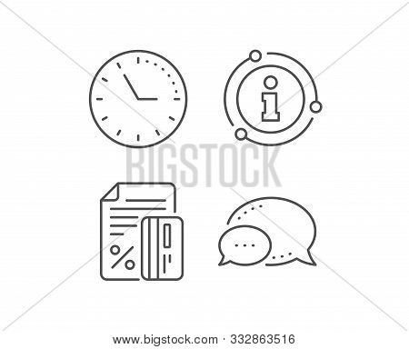 Credit Card Percent Line Icon. Chat Bubble, Info Sign Elements. Discount Sign. Loan Percentage Symbo