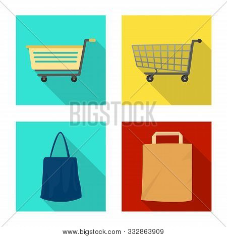 Isolated Object Of Pushcart And Cart Sign. Collection Of Pushcart And Market Stock Vector Illustrati