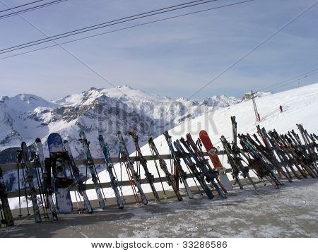 A general view of some skis on the top of the mountain at the ski resort of Crans Montana in the Swiss Alps in Valais in Switzerland.