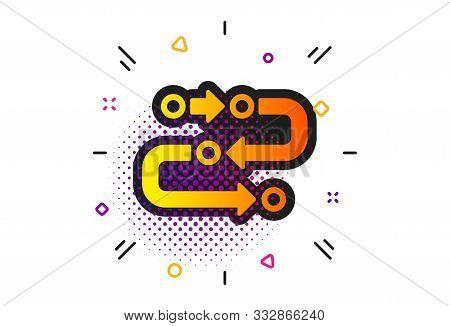 Development Process Sign. Halftone Circles Pattern. Methodology Icon. Strategy Symbol. Classic Flat