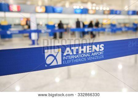 Athens International Airport Eleftherios Venizelos, Greece - November 4, 2019: Retractable Belt, Por